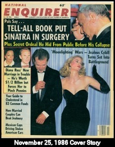 Bruce & Cybill fighting--front page story of National Enquirer