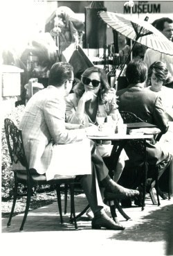 A candid shot taken during the filming of the scene at Marie Callender's from And the Flesh Was Made Word