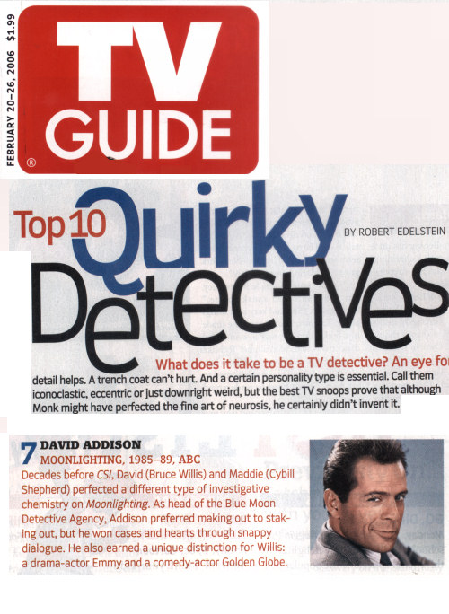 TV Guide Article on Quirkiest TV Detectives